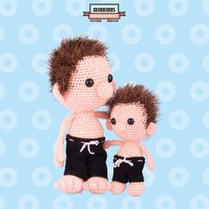 "Dendennis and his Mini-me  A Dendennis design from his dutch amigurumi book ""Kawaii Haken"""