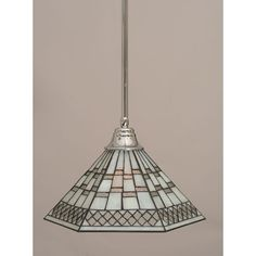 Chrome Stem Pendant With Pewter Tiffany Glass Toltec Lighting Island Pendant Lighting Ceil
