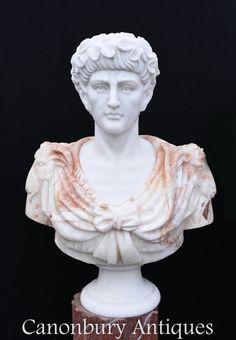 Gorgeous hand carved bust of Roman Emperor Julius Caesar. Sculpture Art, Sculptures, Walter Raleigh, New Roman, Marble Bust, Garden Lanterns, Julius Caesar, Roman Emperor, Alexander The Great