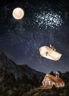 Invitation from the Moon #2 - Journey to the Moon 작은 욕조에 별똥별을 매달자 주변으로 친구 별들이 모여들었어요. 욕조는 마치 작은 배처럼 별들이 이끄는 대로 하늘을 날아갔습니다. The friend stars gathered close when I attached the fallen star to a small bath tub. The bath tub flew up into the sky, like a small boat. pulled by the stars.
