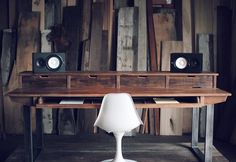 The SD88 is our full size studio desk model made to fit most 88 key workstations on the sturdy sliding shelf and up to 3 screens on the desktop shelf. This rustic reclaimed version is a favorite for t