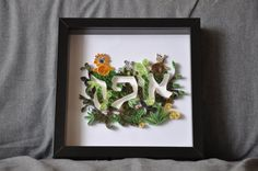 Personalised Baby\child name art for nursery in a frame jungle theme using quilling technique paper art by isralove Jewish gifts Mazel Tov Jewish Baby Isralove. Find it now at http://ift.tt/2fP58F5!