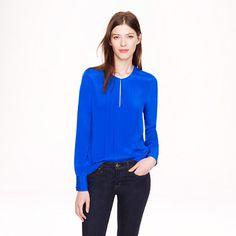 Pleated silk crepe blouse