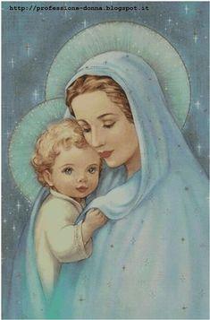 Schema da realizzare a punto croce con un' immagine della Madonna con Bambino . L'immagine mostra l'anteprima dello schema.  I punti d...