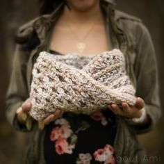 Check out The Twist Cowl All About Ami crocheted with our Wool-Ease Thick & Quick yarn!