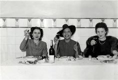1939, Josephine Baker and two friends having lunch at Jerónimo Restaurant, Bairro Alto, Lisbon, Portugal