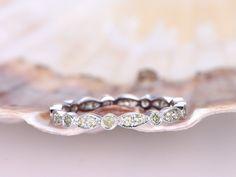 Milgrain Design Wedding Ring,Full Eternity Peridot wedding band,Green Gem Stone Ring, 14k White Gold,Stacking Matching Band,Art Deco Band by PENNIjewel on Etsy