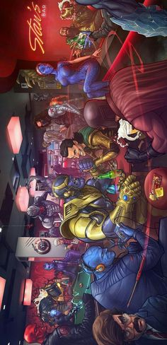 I love how Stan Lee is in the back bartending Marvel Villians - the only thing that would make this better is if Apocalypse was in it. Marvel Avengers, Marvel Dc Comics, Heros Comics, Marvel Villains, Marvel Heroes, Funny Comics, Comic Book Characters, Comic Character, All Marvel Characters