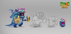 Concepts created for the Game Dragon City. I've designed the complete Fast Food themed island. Dragon City, Concept, Illustrations, Island, Artwork, Poster, Food, Work Of Art, Auguste Rodin Artwork