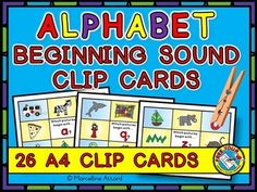 Want to teach and revise alphabet beginning sounds in an interactive and fun way? This resource is just for you! These cute and original clip cards are ideal to be used during lessons, in literacy centers and home-schooling.   All clip cards include pictures which begin with the alphabet letter sounds except for letter x. For the latter, focus is on the final sound.