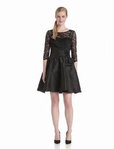 Jessica Howard Women's 3/4 Sweetheart Neck Dress with Pleated Waist