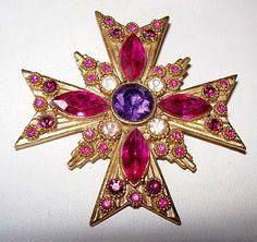Designer Brooch Pin Maltese Cross Signed by BrightgemsTreasures, $34.50