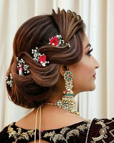 Bridal Hairstyle Indian Wedding, Bridal Hair Buns, Bridal Hairdo, Hairdo Wedding, Indian Hairstyles, Latest Hairstyles, Bride Hairstyles, Bridesmade Hairstyles, Lace Wigs