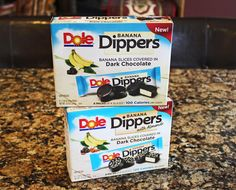 Dole Banana Dippers only 100-120 calories per package. Makes a great healthy snack. :)