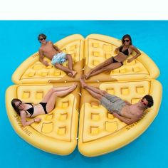 Swimline Inflatable Waffle Slice Giant Swimming Pool Float Lounger Lake Raft Mat - Inflatable Pool Float - Ideas of Inflatable Pool Float Cute Pool Floats, Giant Pool Floats, Lake Rafts, Pool Rafts, Lake Floats, Sammy, Summer Pool, Summer Fun, Cool Pools