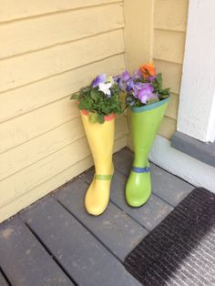 Love my new planters!  Upcycled from my old black rubber boots using APC paints.