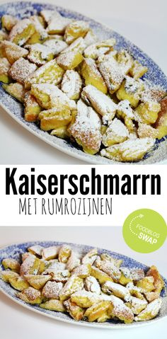 Kaiserschmarrn (Emperor's Mess) is a shredded pancake, which has its name from the Austrian emperor (Kaiser) Franz Joseph I of Austria. I made it with rum soaked raisins! Dutch Recipes, Baking Recipes, German Recipes, Delicious Desserts, Yummy Food, Food Goals, Fabulous Foods, Food Inspiration, Love Food