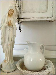 Vintage French Soul ~ - ♥ -love the staue i could put one of these on my dresser also with dads rosary! Madonna, Amazing Grace, Simply Beautiful, Catholic Altar, Catholic Religion, Statues, Prayer Corner, Home Altar, Mama Mary