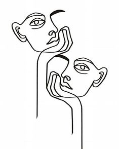 Printed Abstract Faces in Lines, One Line Artwork Print, Fashion Poster, Mini. Abstract Illustration, Abstract Sketches, Art Sketches, Art Drawings, Tattoo Sketches, Line Drawing Tattoos, Face Line Drawing, Drawing Faces, Face Sketch