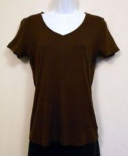 Faded Glory Organic Cotton Knit Top Women's Size M 8-10 Brown NEW