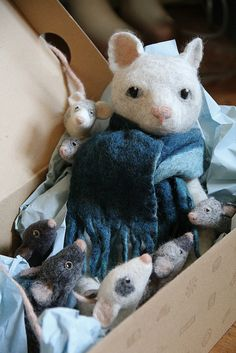 mice and sitter by swig - filz felt feutre, via Flickr