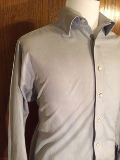 Michael Kors Shirt Mens XL 17.5 34/35 Long Sleeve Button Down Light Blue Grey #MichaelKors