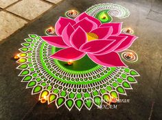 #kolam#lotus#pink#green