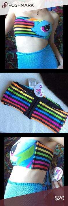 My Little Pony Rainbow Hot Topic Bandeau Blue PFF Pony Friends Forever! (Or Posh Friends forever ) New. Excellent condition. Smoke free home. Red orange yellow green blue purple. Funky. Punk. Beach. Sand and sun. Rainbow spirit. Rave. Electric Daisy carnival. Vixen. Horse lovers. Lots of hook and eyes. Stretchy. 95% cotton and 5% spandex. Matte texture. Removable padding. I suggest sink hand washing ;) bralette. Swim top. Under overalls. Bando. Strapless. Collectible. Hot Topic Swim Bikinis