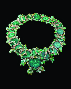The pond scum necklace, made of malachite stalactite slices, faceted citrines, and emerald and peridot beads. PHOTO: Stephanie Hanchett. Tony Duquette/Hutton Wilkinson Jewelry