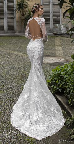 Tarik Ediz Wedding Dresses 2019 - The White Bridal Collection. Fitted mermaid lace backless wedding dress with long sleeves #weddingdress #weddingdresses #bridalgown #bridal #bridalgowns #weddinggown #bridetobe #weddings #bride #dreamdress #bridalcollection #bridaldress #dress See more gorgeous wedding dresses by clicking on the photo