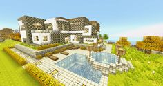 Minecraft Wallpapers - Modern House by Nsgeo on DeviantArt Minecraft Space, Images Minecraft, Minecraft Modern, Minecraft City, Amazing Minecraft, Minecraft Houses, Minecraft Ideas, Ipod Wallpaper, Minecraft Wallpaper