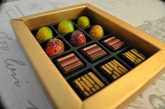 Chocolate box, Handmade artisan chocolate, Fall Collection, Bittersweet chocolate, Almond praline, Pumpkin spice, Caramel and dark chocolate
