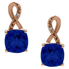 Rose Gold Cushion-Cut Blue Sapphire Birthstone Diamond Drop Earrings Jewelry Available Exclusively at Gemologica.com