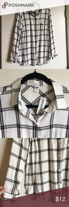 Old Navy Button Down New with tags. Silky, longer length, black and white plaid button down. Old Navy Tops Button Down Shirts