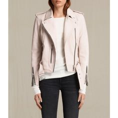 AllSaints Balfern Leather Biker Jacket ($560) ❤ liked on Polyvore featuring outerwear, jackets, wshd pink, pink biker jacket, rider jacket, pink moto jacket, allsaints and pink jacket