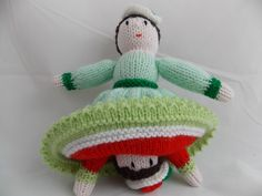 Doll topsy turvy two character handknit dolly red dress and pastel mintgreen dress with lovely flower details traditional english by PurpleValleyDesign on Etsy