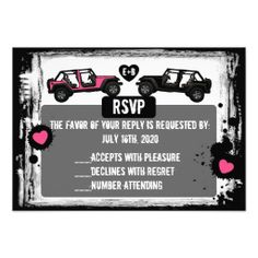 OMG these are awesome!!!! Black white pink JEEP custom wedding RSVP cards