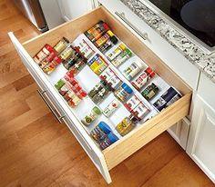 Rev-A-Shelf – Wide Trimmable Spice Drawer Insert – (White - Own Kitchen Pantry Kitchen Organization Pantry, Kitchen Pantry, Kitchen Storage, Kitchen Ideas, Kitchen Tips, Spice Organization, Kitchen Supplies, Kitchen Drawers, Kitchen Cabinets