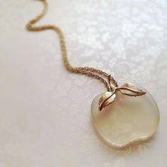 Vintage Glass Apple Necklace Long Necklace Avon by NicoleNicoletta