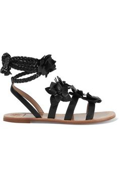Tory Burch - Blossom Gladiator Appliquéd Leather Sandals - Black - US