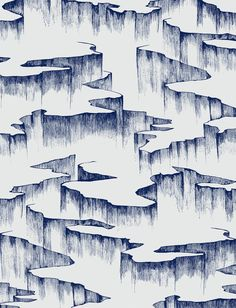 """RIFT Azurite Blue on Powder Blue hand drawn, silk screened wallpaper, made in america Trickling waterfalls in an endless cycle... Deep blue ribbons across a soft powder blue sky. Rift - a series of ink drawn cliffs that curve and split. Roll :: $200 27"""" x 15' Sample :: $10 8&quo"""