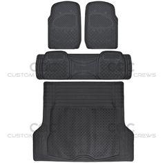 BDK Seat Covers /& Mats Gray PU Leather Seat Covers /& Black 3 Piece PVC Mats