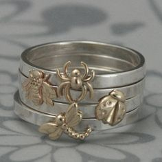 Bugga Bugga Bands--Solid 14K Yellow Gold Bug of Your Choice on a 2mm wide Sterling Silver Band--Custom Made in Your Size--Stack Em' Up on Etsy, $42.00