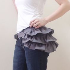 Inspiration ~ Gray Gathered Canvas Women's Fanny Pack, Hip Bag, Belt pouch, Handbag - Kinies Gathered Waist Purse