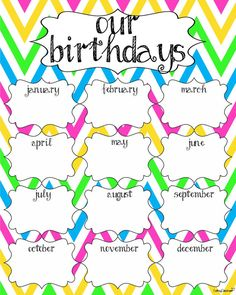 Printable Birthday Charts