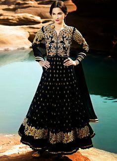 Stupendous Black Net Anarkali Suit