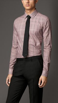 Burberry Slim Fit Check Cotton Shirt