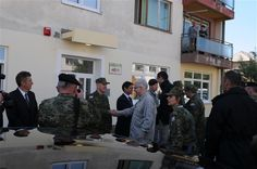 Croatian president, Ivo Josipovic greets Lt. Gen. Darko Grdic, Croatian Chief Inspector of Defense, Sept. 17, 2012, at Ubina, Croatia. Josipovic visited Ubina to inspect the Little Bear Kindergarten, which was is being renovated with resources provided by the Humanitarian Civic Assistance Project