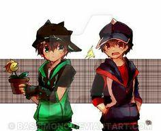 Don't dare you keep that plant! by Bassimono Boboiboy Anime, Anime Kiss, Anime Couples Manga, Cute Anime Couples, Anime Art, Anime Galaxy, Boboiboy Galaxy, Cartoon Movies, Cartoon Art
