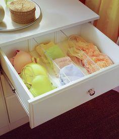great way to keep bras and underwear organized